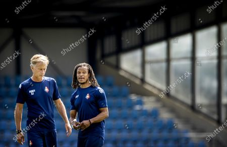 Stock Image of Dutch Edgar Davids (R) during the training of Telstar in Velsen, 19 August 2020. He will work as assistant to head coach Andries Jonker (L).