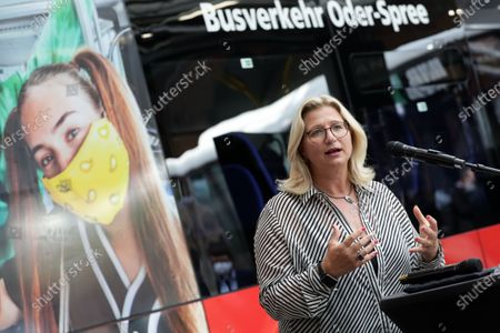 Anke Rehlinger, Minister of Transport of the Saarland, attends a press conference for a campaign '#BetterFurther (#BetterWeiter)' to promote public transport after corona pandemic lockdown in Berlin, Germany, 19 August 2020. Transport companies with the federal government and municipalities intensify their commitment in order to normalise the use of public transportation.