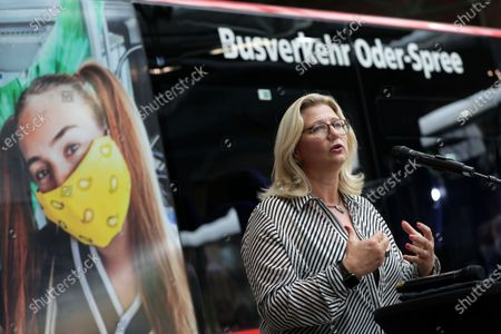 Stock Picture of Anke Rehlinger, Minister of Transport of the Saarland, attends a press conference for a campaign '#BetterFurther (#BetterWeiter)' to promote public transport after corona pandemic lockdown in Berlin, Germany, 19 August 2020. Transport companies with the federal government and municipalities intensify their commitment in order to normalise the use of public transportation.