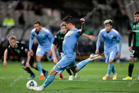 Melbourne City forward Jamie Maclaren (9) takes a penalty