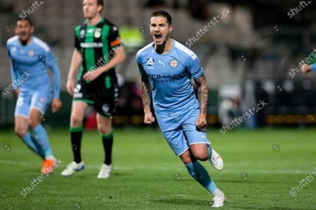Melbourne City forward Jamie Maclaren (9) celebrates his goal