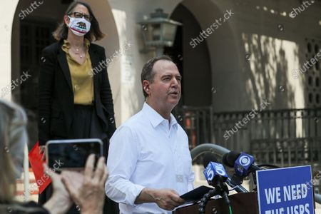 Rep. Adam Schiff, flanked by assembly member Laura Friedman, top left, addresses a news conference highlighting how cuts in service instituted by Postmaster General Louis DeJoy will impact postal services on Tuesday, Aug. 18, 2020 in Burbank, CA. (Irfan Khan / Los Angeles Times)