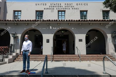 Rep. Adam Schiff, at a press conference to highlighting how cuts in service instituted by Postmaster General Louis DeJoy will adversely effect USPS at Bob Hope Post Office on Tuesday, Aug. 18, 2020 in Burbank, CA. (Irfan Khan / Los Angeles Times)