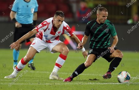 Milan Rodic i Juan Pedro Rico Dominguez during UEFA Champions League first qualifying round football match between Crvena Zvezda and Europa FC in Belgrade, Serbia on Aug. 18, 2020.