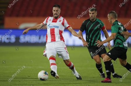 Milos Degenek during UEFA Champions League first qualifying round football match between Crvena Zvezda and Europa FC in Belgrade, Serbia on Aug. 18, 2020.