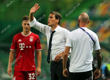 Olympique Lyon's head coach Rudi Garcia (C) reacts during the UEFA Champions League semi final soccer match between Olympique Lyon and Bayern Munich in Lisbon, Portugal, 19 August 2020.