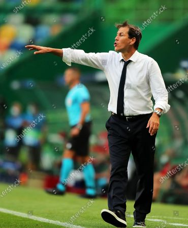 Olympique Lyon's head coach Rudi Garcia reacts during the UEFA Champions League semi final soccer match between Olympique Lyon and Bayern Munich in Lisbon, Portugal, 19 August 2020.