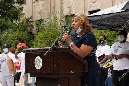 Mayor Shawyn Patterson-Howard of Mount Vernon, NY, East Orange's sister city, at East Orange City Hall