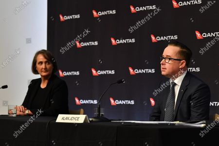 Qantas Group Chief Executive Officer Alan Joyce (R) and Qantas Group Chief Financial Officer Vanessa Hudson (L) during the company's results announcement press conference in Sydney, Australia, 20 August 2020. Qantas CEO Alan Joyce has said the company's has taken a 2.87 billion US dollar (4 billion Australian dollar) revenue loss due to the coronavirus pandemic.