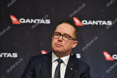 Stock Picture of Qantas Group Chief Executive Officer Alan Joyce speaks during the company's results announcement press conference in Sydney, Australia, 20 August 2020. Qantas CEO Alan Joyce has said the company's has taken a 2.87 billion US dollar (4 billion Australian dollar) revenue loss due to the coronavirus pandemic.