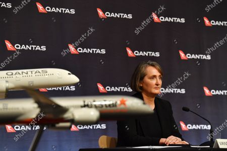 Stock Image of Qantas Group Chief Financial Officer Vanessa Hudson during the company's results announcement press conference in Sydney, Australia, 20 August 2020. Qantas CEO Alan Joyce has said the company's has taken a 2.87 billion US dollar (4 billion Australian dollar) revenue loss due to the coronavirus pandemic.