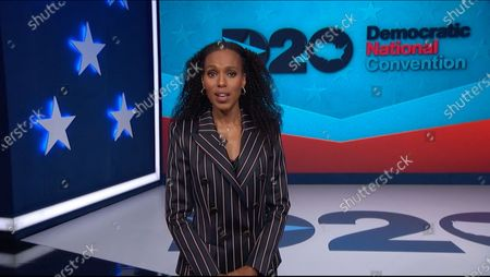 In this image from the Democratic National Convention video feed, American actress Kerry Washington makes introductory remarks on the third night of the convention.