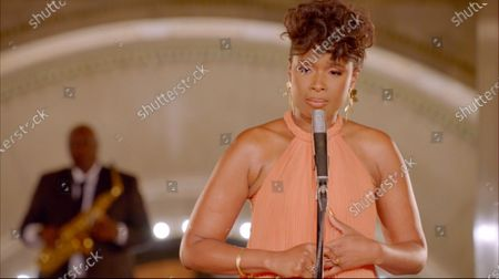 Stock Picture of In this image from the Democratic National Convention video feed, American singer and actress Jennifer Hudson performs to close the third night of the convention.
