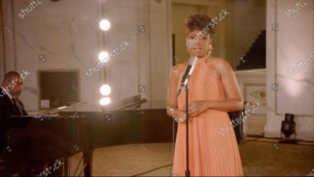 In this image from the Democratic National Convention video feed, American singer and actress Jennifer Hudson performs to close the third night of the convention.