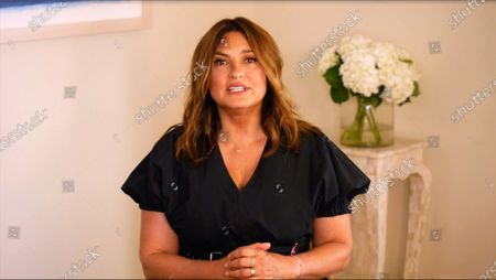 Stock Image of In this image from the Democratic National Convention video feed, American actress and advocate Mariska Hargitay makes remarks on the third night of the convention.