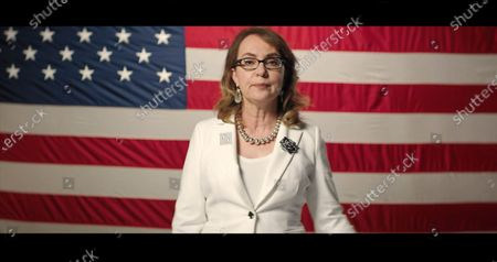 In this image from the Democratic National Convention video feed, former United States Representative Gabrielle Giffords (Democrat of Arizona) makes remarks on the first night of the convention.