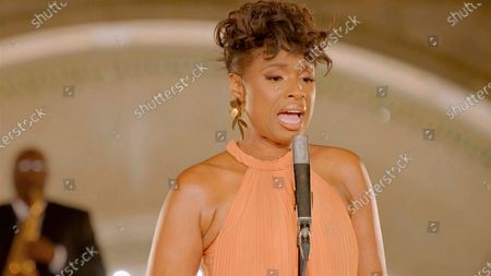 """Stock Image of In this image from video, Jennifer Hudson performs """"A Change is Gonna Come"""" during the third night of the Democratic National Convention on"""