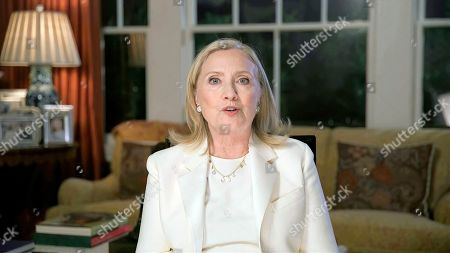 In this image from video, former Secretary of State Hillary Clinton speaks during the third night of the Democratic National Convention on Wednesday, Aug. 19, 2020. (Democratic National Convention via AP)