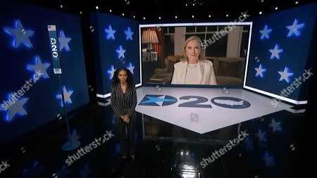 In this image from video, former Secretary of State Hillary Clinton speaks as Kerry Washington, serving as moderator, listens during the third night of the Democratic National Convention on Wednesday, Aug. 19, 2020. (Democratic National Convention via AP)