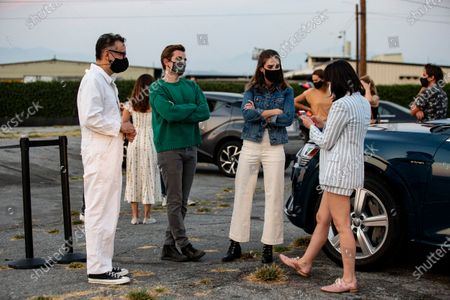 Stock Image of Fred Armisen, actor Dave Franco, actress Alison Brie and actress Kate Micucci attend the ArcLight Drive-In special screening of 'The Little Hours' at the Vineland Drive-In in the City of Industry, east of Los Angeles, California, USA, 19 August 2020.