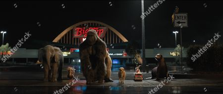 Stock Picture of Ruby (Brooklynn Prince), Henrietta (Chaka Khan), Ivan (Sam Rockwell), Bob (Danny DeVito), Murphy (Ron Funches) and Frankie (Mike White)