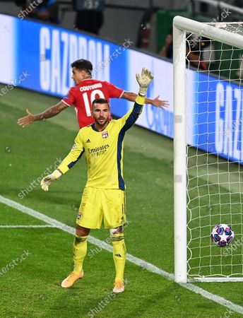 Anthony Lopes of Olympique Lyonnais reacts after Philippe Coutinho of Bayern Munich scored a goal which was disallowed during the UEFA Champions League Semi Final match between Olympique Lyonnais and Bayern Munich at Estadio Jose Alvalade on August 19, 2020 in Lisbon, Portugal.