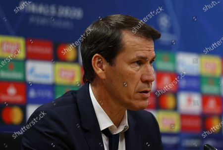 Rudi Garcia, Head Coach of Olympique Lyonnais speaks to the media during a press conference following the UEFA Champions League Semi Final match between Olympique Lyonnais and Bayern Munich at Estadio Jose Alvalade