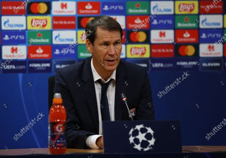 Stock Photo of Rudi Garcia, Head Coach of Olympique Lyonnais speaks to the media during a press conference following the UEFA Champions League Semi Final match between Olympique Lyonnais and Bayern Munich at Estadio Jose Alvalade