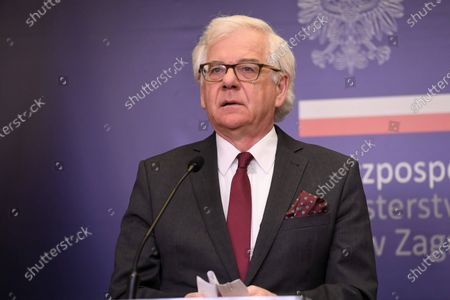 (FILE) - A file picture dated 14 August 2020 shows Polish Foreign Minister Jacek Czaputowicz during a press conference in Warsaw, Poland (reissued on 20 August 2020). Minister Jacek Czaputowicz has tendered his resignation to the Polish Prime Minister on 20 August 2020, was told by the Foreign Ministry.