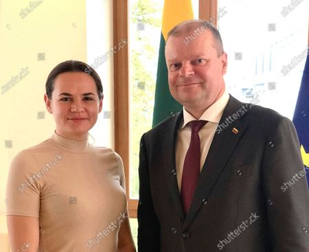 Belarusian opposition candidate Svetlana Tikhanovskaya, left, meets with Lithuanian Prime Minister Saulius Skvernelis, in Vilnius, Lithuania, . Tikhanovskaya fled from Belarus following the disputed Aug. 9, presidential election, that forced her into exile, although Lithuania's Skvernelis has declared she has the backing of the Baltic countries
