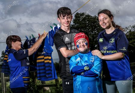 Stock Image of Rugby is back, and we'll be watching along! . Pictured ahead of the return of rugby to our screens this weekend is Leinster Rugby fans Donna Malone with her daughters Jennifer and Hannah and son Daniel ahead of the Province's Guinness PRO14 game against Munster this Saturday
