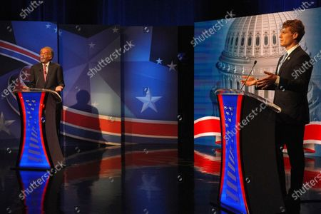 Stock Image of Incumbent Senator Edward J. Markey debates challenger Representative Joseph P. Kennedy III in the final debate leading up to the September 1 primary election at WCVB Channel 5 studios in Needham, Mass. on
