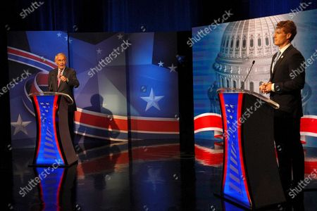 Stock Photo of Incumbent Senator Edward J. Markey debates challenger Representative Joseph P. Kennedy III in the final debate leading up to the September 1 primary election at WCVB Channel 5 studios in Needham, Mass. on