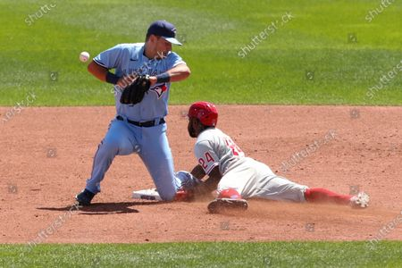 Stock Photo of Philadelphia Phillies' Roman Quinn steals second base as Toronto Blue Jays infielder Joe Panik loses the ball during the third inning of the first game of a baseball doubleheader, in Buffalo, N.Y