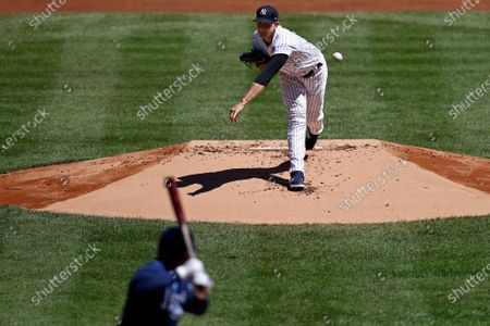 New York Yankees pitcher James Paxton delivers a pitch against the Tampa Bay Rays during the first inning of a baseball game, in New York