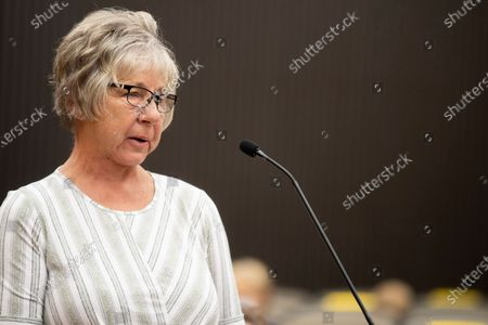 Karen Smith, the aunt of Katie Maggiore, makes a statement as Joseph James DeAngelo is in the courtroom during the third day of victim impact statements at the Gordon D. Schaber Sacramento County Courthouse, in Sacramento, Calif. DeAngelo was known as the East Area Rapist by Feb. 2, 1978, when he fatally shot Katie Maggiore, 20, and Brian Maggiore, 21, as they walked their dog around their Rancho Cordova, Calif., neighborhood. DeAngelo pleaded guilty in June to 13 murders and 13 rape-related charges stemming from crimes in the 1970s and 1980s