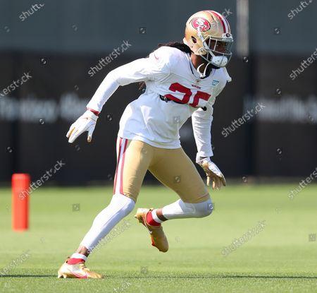 San Francisco 49ers cornerback Richard Sherman (25) takes part in a drill during NFL football training camp, in Santa Clara, Calif