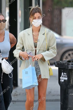 Hailey Bieber is seen after shopping at Anita Ko in West Hollywood