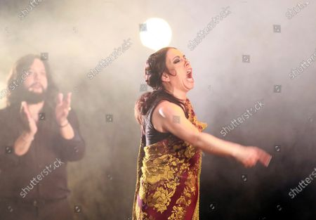 Stock Photo of Spanish bailaora Eva Yerbabuena performs 'Carne y Hueso' (flesh and blood) at Lorca and Granada show at Generalifes Gardens in Granada, southern Spain, 20 August 2020.
