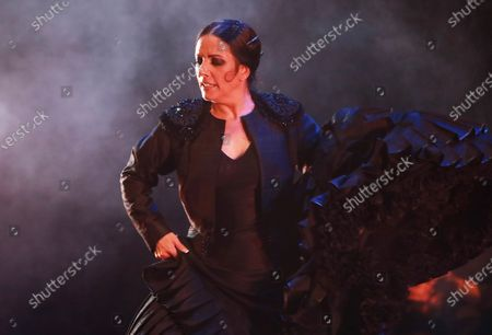 Stock Image of Spanish bailaora Eva Yerbabuena performs 'Carne y Hueso' (flesh and blood) at Lorca and Granada show at Generalifes Gardens in Granada, southern Spain, 20 August 2020.