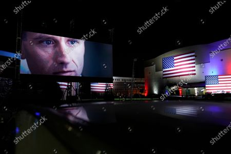An image of Beau Biden, son of Democratic presidential candidate former Vice President Joe Biden, is shown outside the venue where Joe Biden will speak later tonight, during the final day of the Democratic National Convention, at the Chase Center in Wilmington, Del