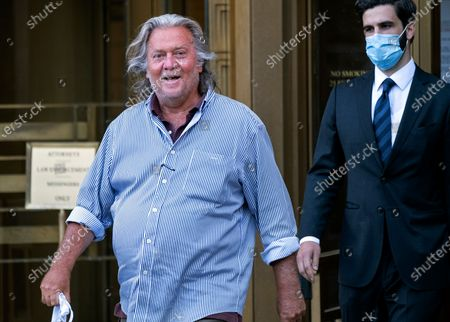 President Donald Trump's former chief strategist Steve Bannon leaves federal court in New York, after pleading not guilty to charges that he ripped off donors to an online fundraising scheme to build a wall on the U.S. border with Mexico