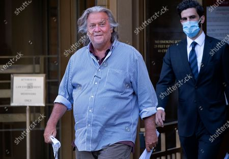 President Donald Trump's former chief strategist Steve Bannon leaves federal court in New York, after pleading not guilty to charges that he ripped off donors to an online fundraising scheme to build a southern border wall