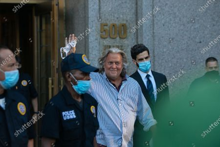 Former advisor to US President Donald J. Trump Stephen Bannon leaves federal court after his arraignment on charges of using funds raised for border wall construction to pay for personal expenses, in New York, New York, USA, 20 August 2020. Bannon was arrested earlier in the day while vacationing on a yacht in Connecticut.
