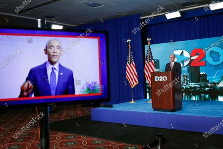 Former President Barack Obama is shown on a video, left, as Democratic National Committee Chairman Tom Perez addresses the final night of the virtual 2020 Democratic National Convention, in Milwaukee, Wisc