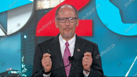 In this image from the Democratic National Convention video feed, Tom Perez, Chair of the Democratic National Committee, makes remarks on the last night of the convention.