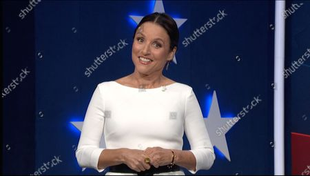 In this image from the Democratic National Convention video feed, American actress Julia Louis-Dreyfus makes introductory remarks on the last night of the convention.