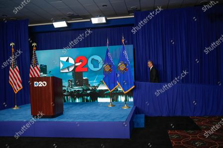 Chairman of the Democratic National Committee Tom Perez, arrives on stage to speak during the day four of the virtual Democratic National Convention in Milwaukee, Wisconsin, USA, 20 August 2020. Thursday marked the last day of the Democratic National Convention, which is being held virtually for the first time in history.