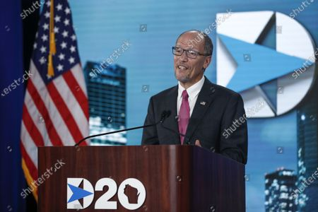 Chairman of the Democratic National Committee Tom Perez speaks during the day four of the virtual Democratic National Convention in Milwaukee, Wisconsin, USA, 20 August 2020. Thursday marked the last day of the Democratic National Convention, which is being held virtually for the first time in history.