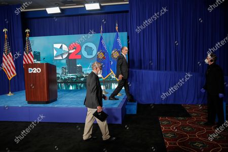 Chairman of the Democratic National Committee Tom Perez (C), walks off the stage after speaking during day four of the virtual Democratic National Convention in Milwaukee, Wisconsin, USA, 20 August 2020. Thursday marked the last day of the Democratic National Convention, which is being held virtually for the first time in history.
